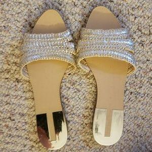 Zara Metallic Slide Sandals. Fits size 8/39